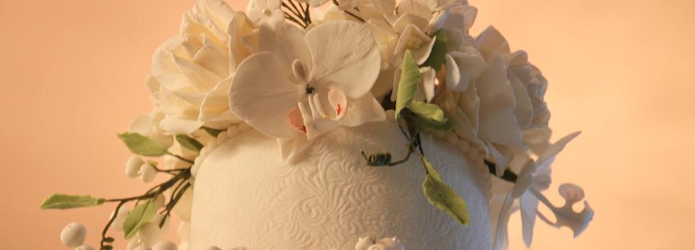 Maquete redonda - buquê em flores de açúcar