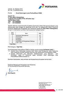 SK lulus prakualifikasi CSMS Pertamina,