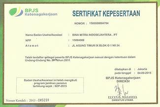Sertifikat BPJS Ketenagakerjaan, BMIS.jp