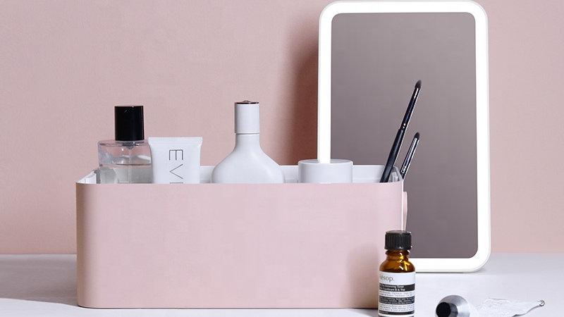 Portable LED Light Big Mirror Makeup Case