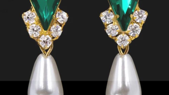 Emerald Pear V Pearl Drop Earrings - Emerald Gold Plated