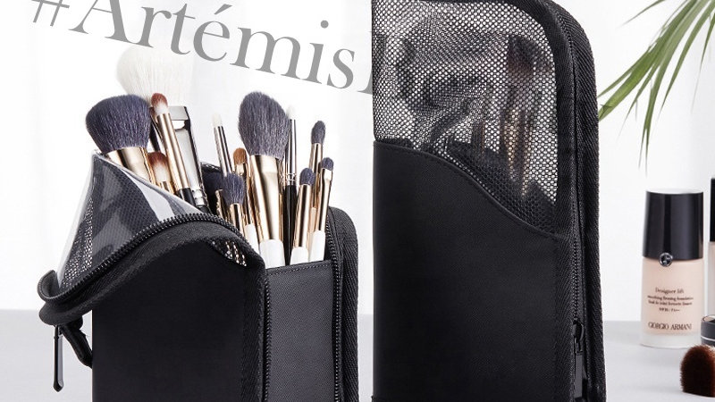 Black Waterproof Clear Makeup Brush holder & travel bag