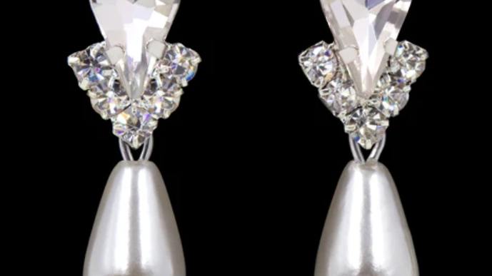 Pear and V  Crystal Earrings