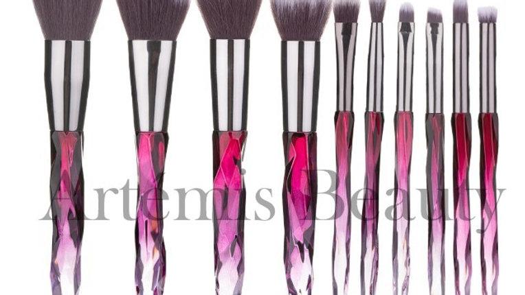 Pink Crystal Makeup Brush set (10pcs)
