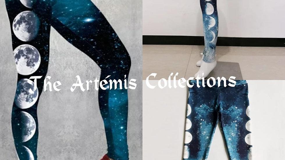 Blue Star Moon  printed leggings Fitness Leggings