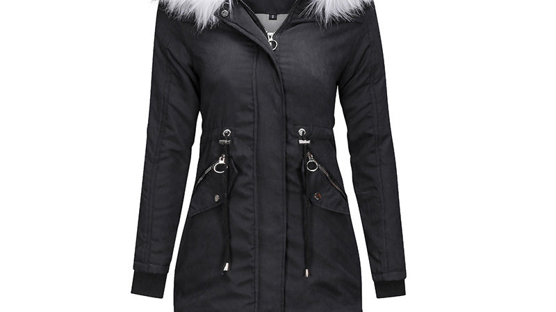 Stacey- Hooded Warm Winter Coat with Faux Fur LinedHood