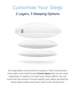 Nuzzle, one pillow for every sleeping position, nano-coil tech, temperature regulation, 2 layers, 3 sleeping options