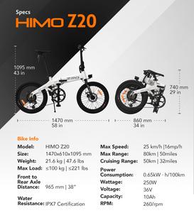 HIMO Z20, Indiegogo, E-Bike, Affordable, Electric Bike, specs