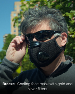 Breeze, Kickstarter, cooling face mask, gold and silver filters, self-protection,