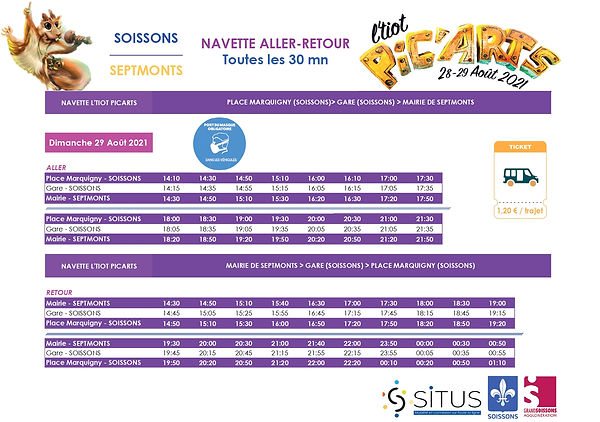 horaires navette Tiot Pic'Arts