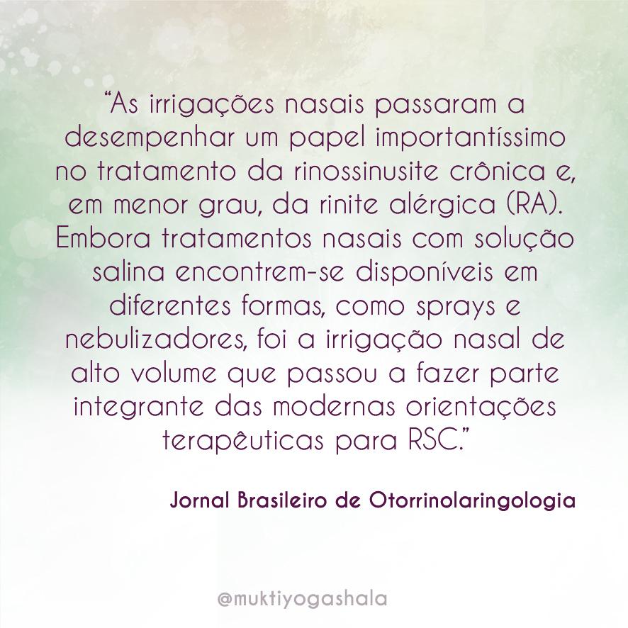 Jala Neti segundo Jornal de Otorrino