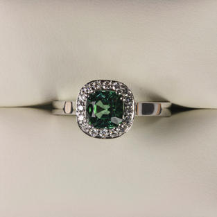 Mint Green Tourmaline and Diamond Cluster Ring