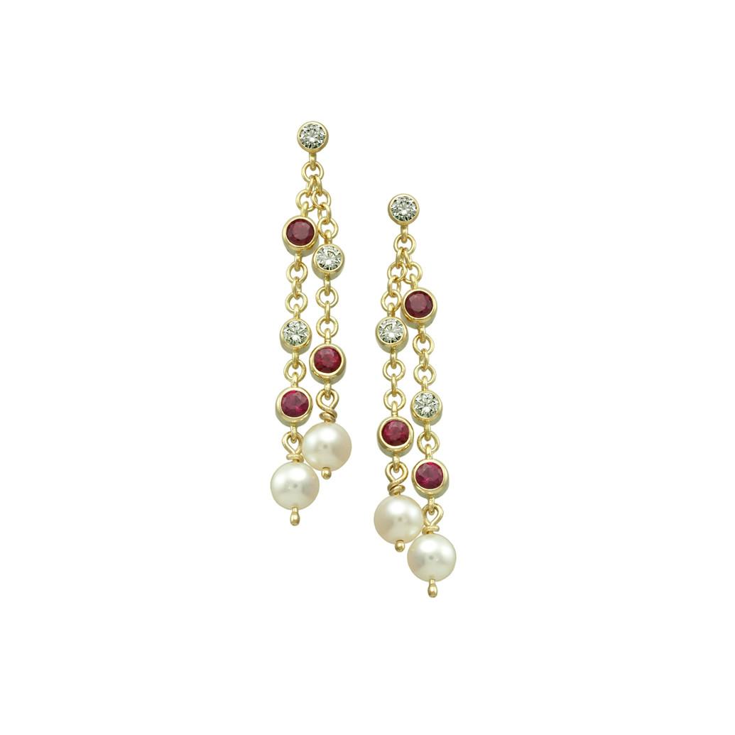 Ruby, Diamond & Pearl chain drop earrings