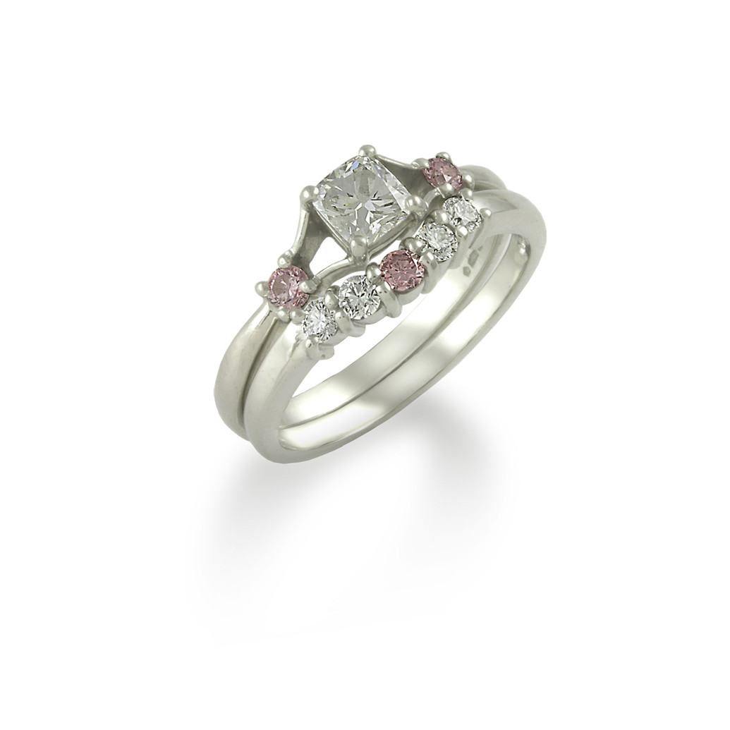 Fitted pink & white Diamond engagement and wedding ring