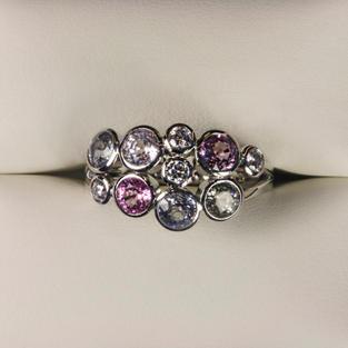 Multi Pastel Sapphire Bubble Ring