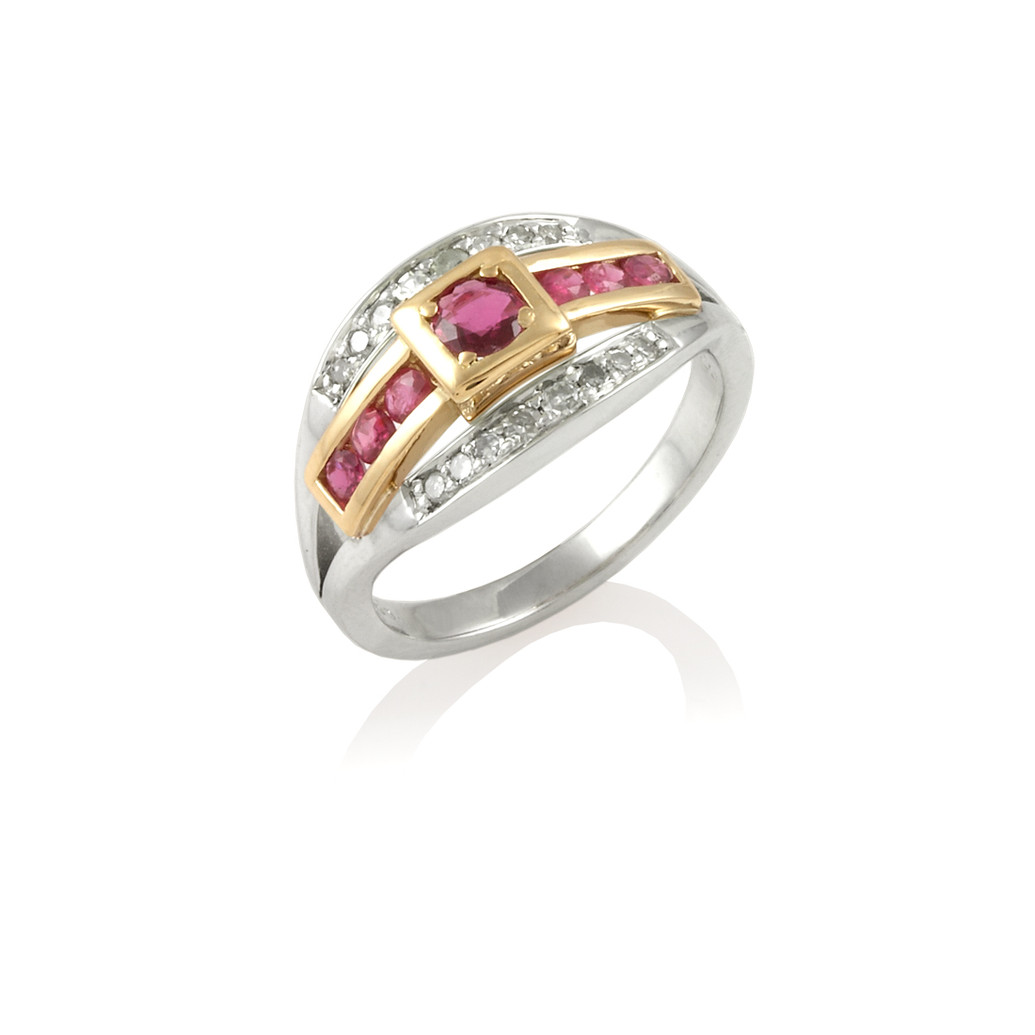 Ruby & Diamond Art-Deco style cluster ring