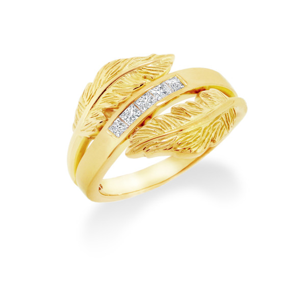 Feather crossover ring