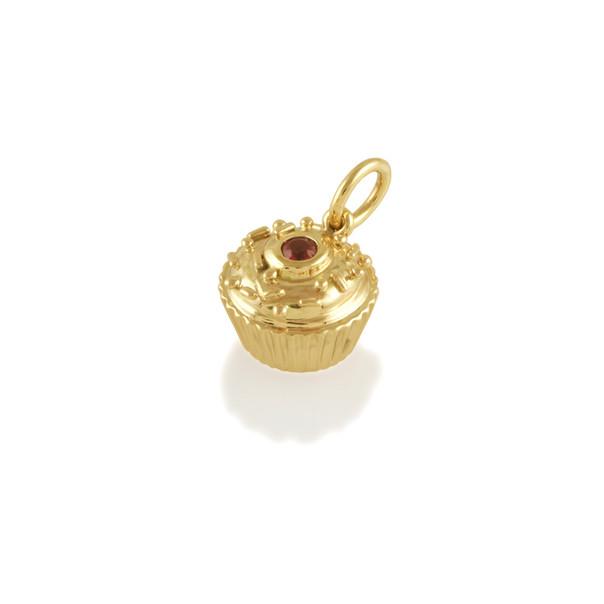 Gold Ruby cupcake charm