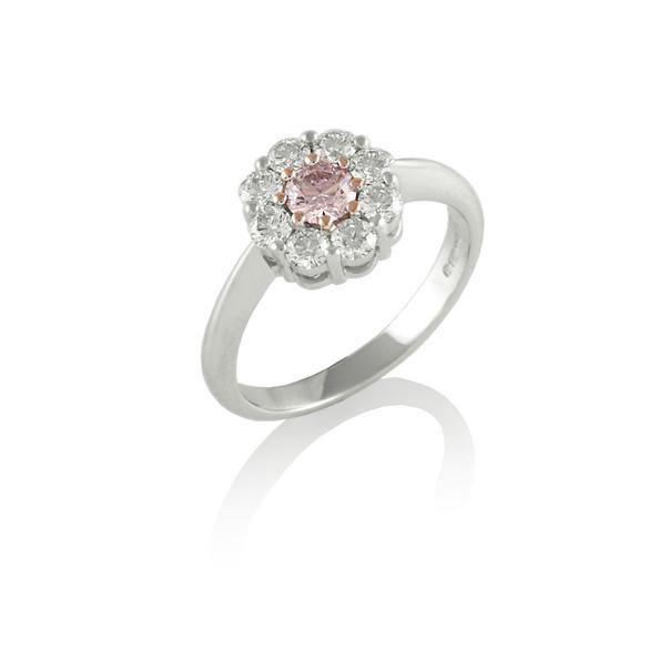 Pink & white Diamond cluster ring
