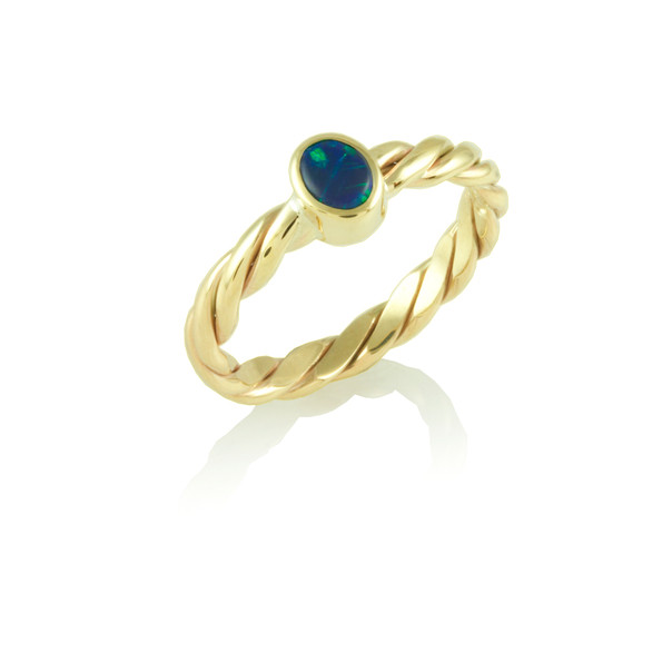 Black Opal twisted wire ring