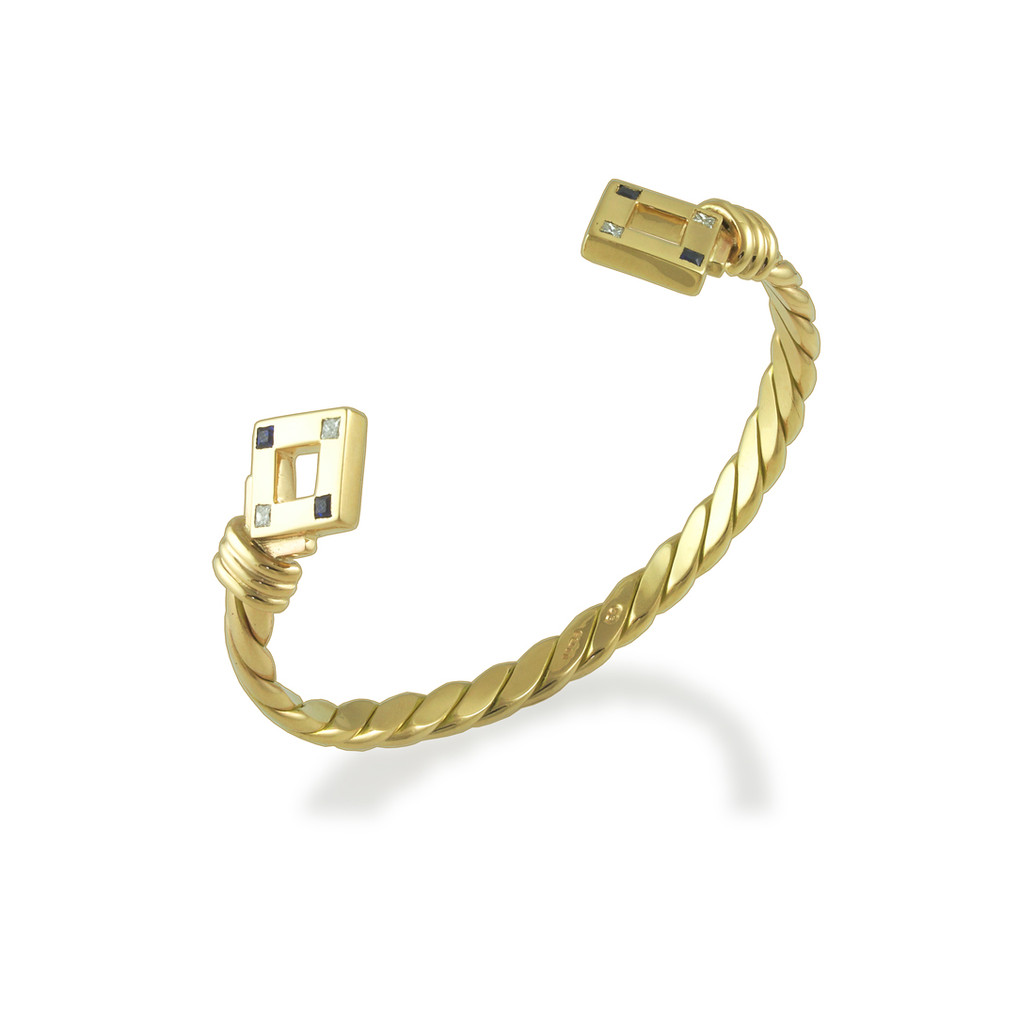 Twisted torque bangle with Sapphires & Diamonds