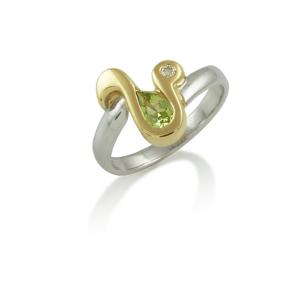 Swirl design Peridot ring