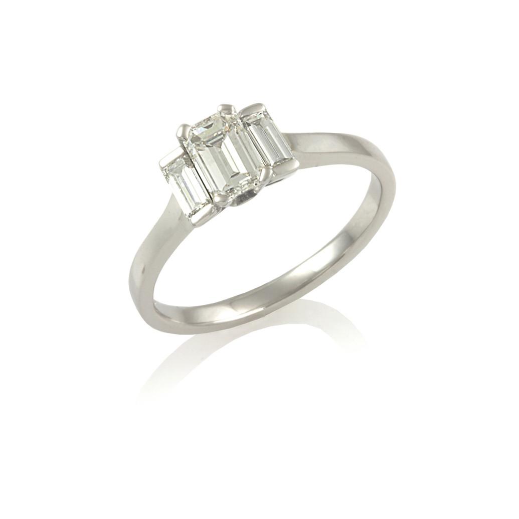 Emerald & Baguette cut Diamond 3 stone ring