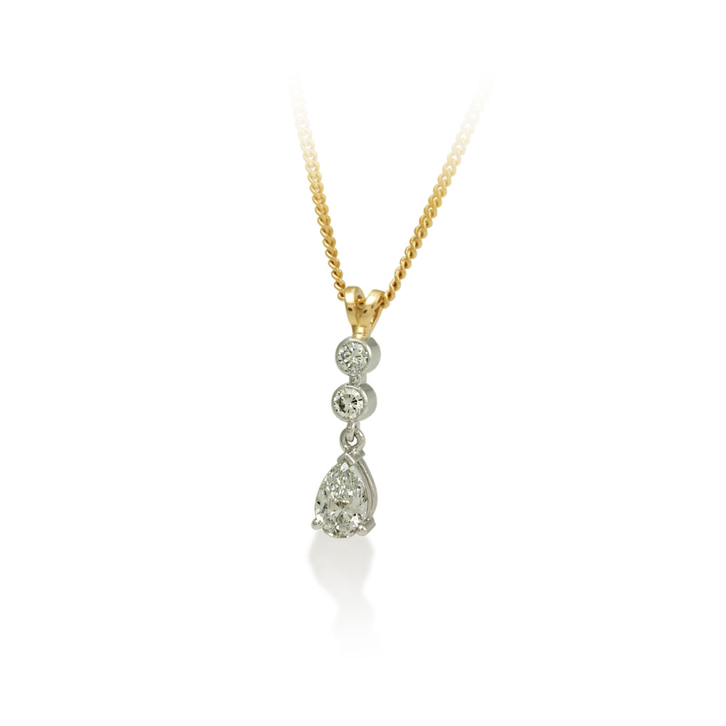 Pear shaped & round Diamond drop pendant