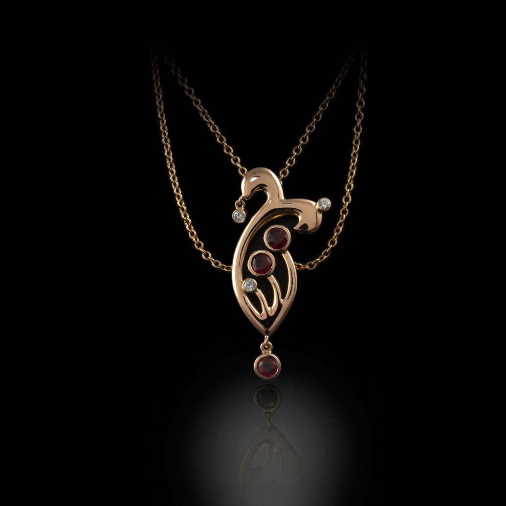 Rose Gold Diamond & Ruby pendant