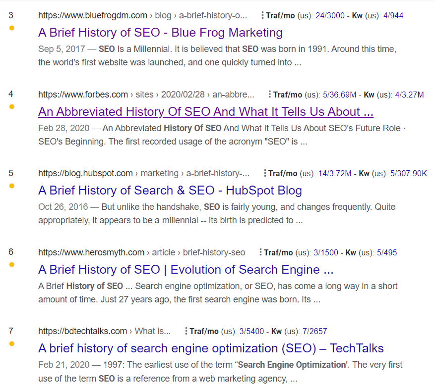 """A Google results page with 5 URLs, numbered 3-7, all titled some variation of """"brief history of seo"""""""
