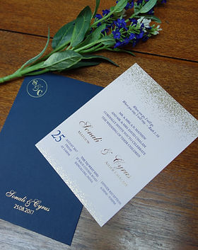 elegant invitations customized in bangalore - minimal and modern invitations - baby pink and navy blue with gold dust