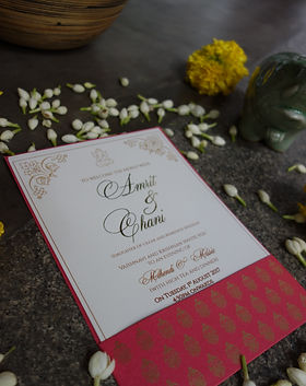 Indian contmporary wedding invitations wit gold foiling and screen print in bangalore