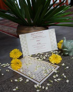 Indian traditional wedding invitation elegant gold