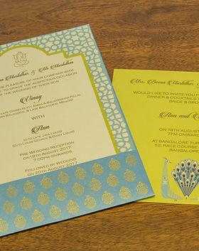 Peacock theme wedding invitaions in bangalore - customized