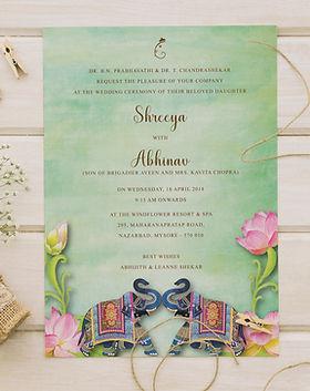 lotus and elephant wedding invitation Indian