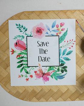 watercolor wedding invitatin floral