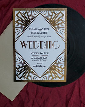 Thegret gatsby theme wedding invitation with complete gold foiling