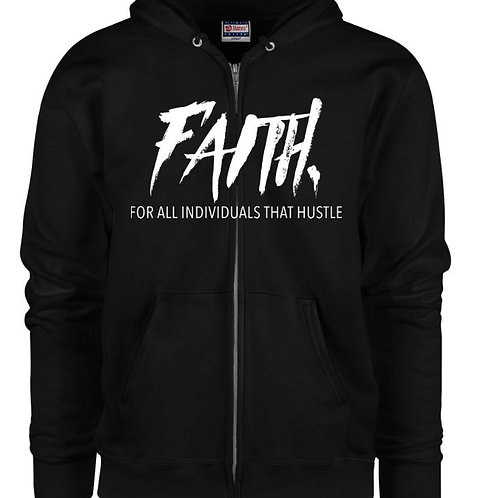 FAITH. Black Zip Hoodie- White Logo