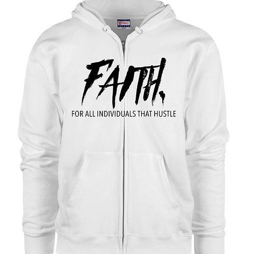 FAITH. White Zip Hoodie- Black Logo