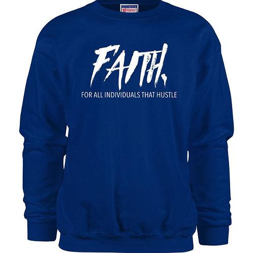 FAITH.Crewneck Blue- White Logo