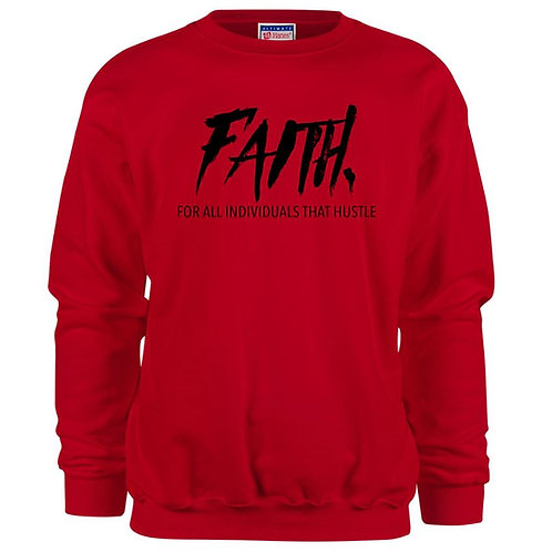 FAITH.Crewneck Red- Black Logo