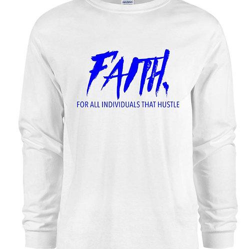 FAITH. Long Sleeve Tee White- Blue