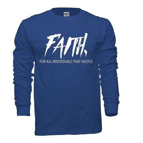 FAITH. Long Sleeve Tee Blue- White