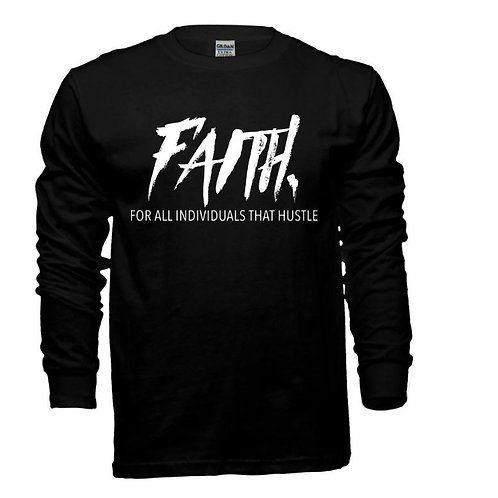 FAITH. Long Sleeve Tee Black- White