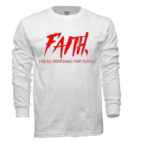 FAITH. Long Sleeve Tee White- Red