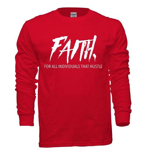 FAITH. Long Sleeve Tee Red- White