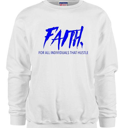 FAITH. Crewneck White- Blue