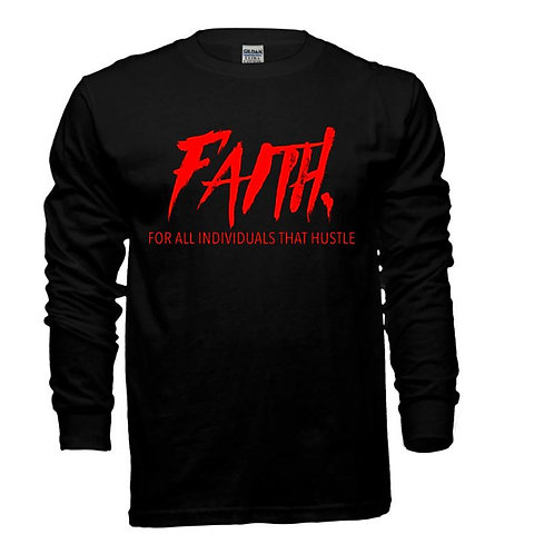 FAITH. Long Sleeve Tee Black- Red