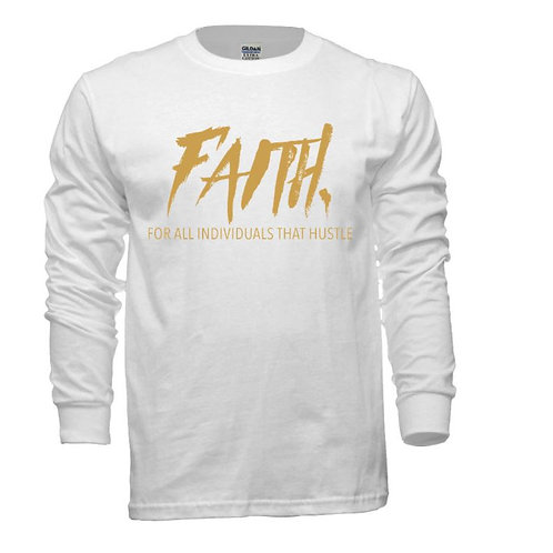 FAITH. Long Sleeve Tee White- Gold