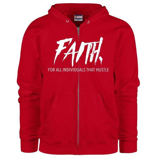 FAITH. Red Zip Hoodie- White Logo